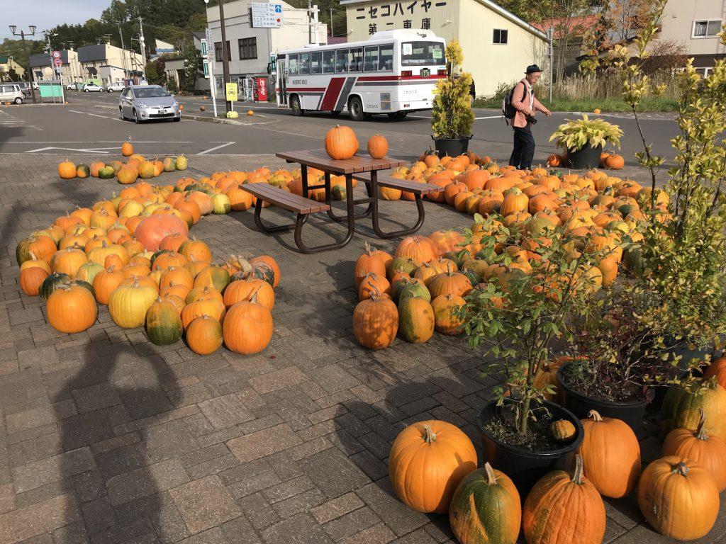 かぼちゃとベンチ